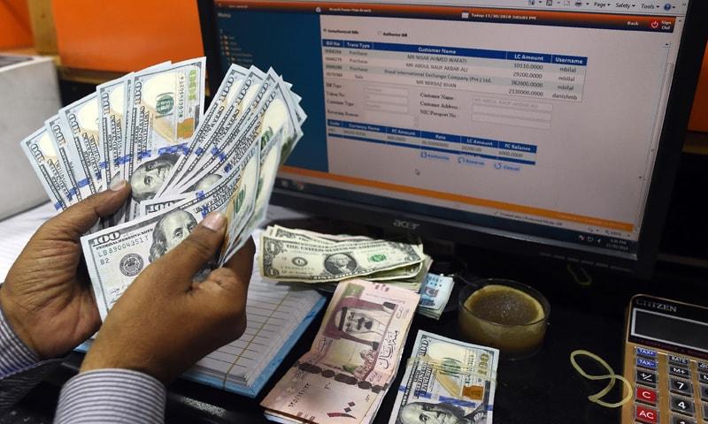 انٹر بینک مارکیٹ میں ایکسچینج ریٹ 146.52 روپے پر بند ہوا جو اس سے ایک روز پہلے 141.40 تھا—فائل فوٹو: اے ایف پی