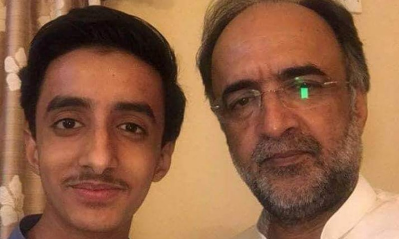 This photo taken on an unspecified date shows PPP leader Qamar Zaman Kaira with his son Usama. — Photo courtesy author