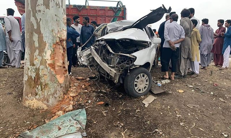 A picture shows the car destroyed by the accident in which PPP leader Qamar Zaman Kaira's son was killed. — Photo courtesy author