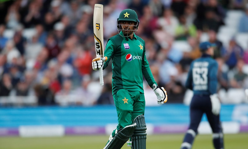 Babar Azam celebrates his half century in the 4th ODI against England at Trent Bridge on Friday. —Reuters