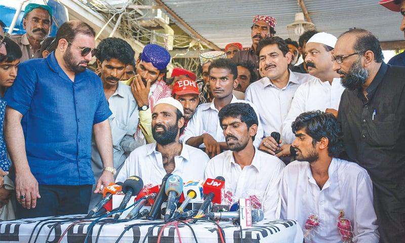 THE released fishermen speak at the Edhi Centre on Friday. — White Star