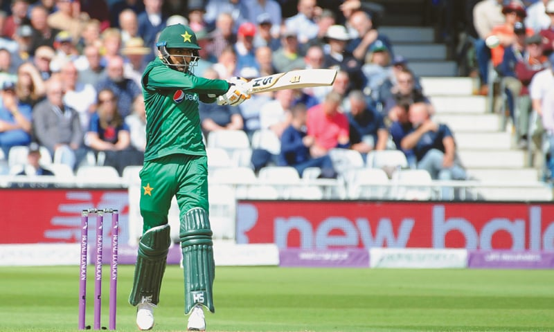 NOTTINGHAM: Pakistan batsman Babar Azam hits out during the fourth One-day International against England at Trent Bridge on Friday.—AP