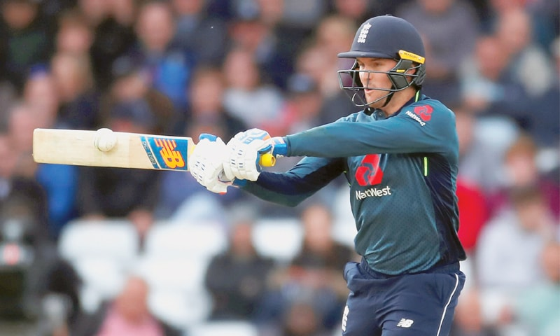 Trent Bridge (Nottingham): England's Jason Roy cuts a short delivery during the fourth One-Day International against Pakistan on Friday. Roy made 114 runs.—Reuters