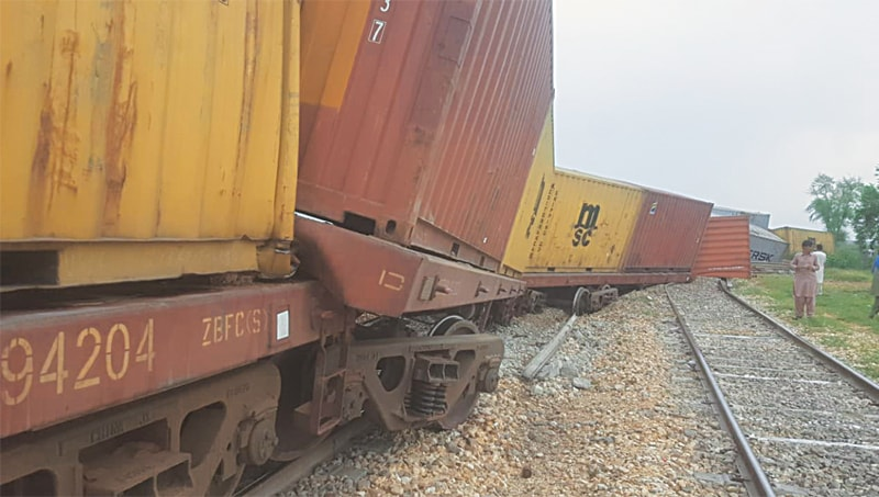 Wagons of the goods train pictured after derailment near Padidan station on Friday.—Dawn