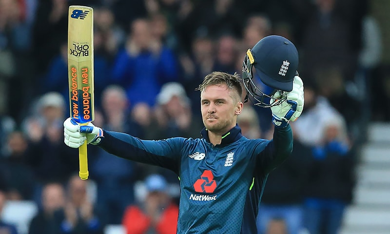 England's Jason Roy celebrates his century during the fourth ODI cricket match between England and Pakistan at Trent Bridge in Nottingham on May 17, 2019. — AFP