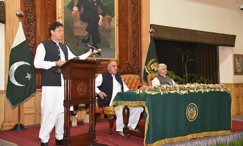Prime Minister Imran Khan addresses a ceremony at KP Governor House on Saturday. — Photo courtesy author