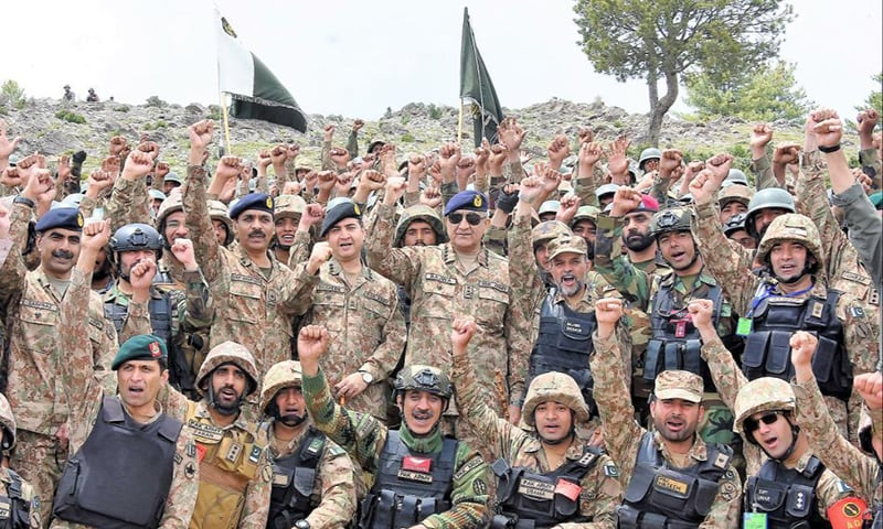 COAS Bajwa can be seen raising his fist in the midst of other Pakistan Army officials. — Photo courtesy: ISPR