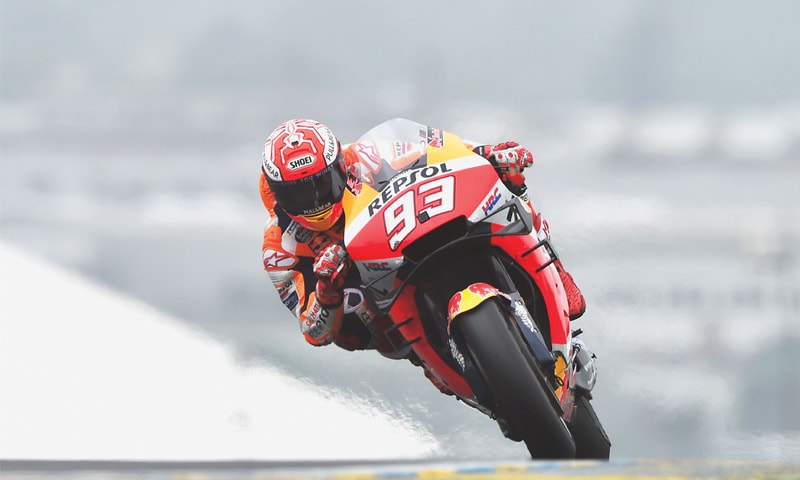 LE MANS: Repsol Honda's Marc Marquez rides during the French MotoGP on Sunday.—AFP