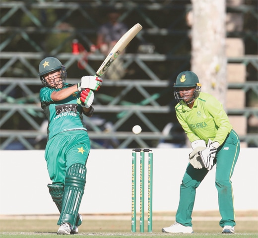 PIETERMARITZBURG: Pakistan batter Iram Javed plays a shot during the third T20 International against South Africa on Sunday.—Courtesy CSA