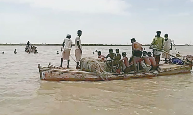 RESCUERS on Sunday evening continue a search for the five persons missing after the boat tragedy.—Dawn