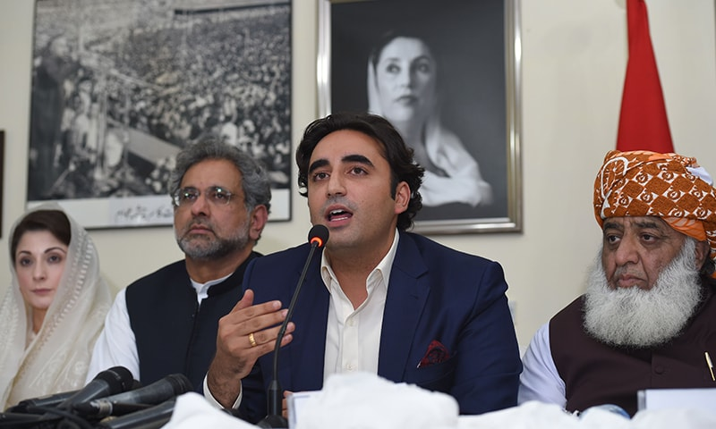 Opposition parties' leaders hold a press conference at Zardari House after an iftar-dinner hosted by Bilawal. — AFP