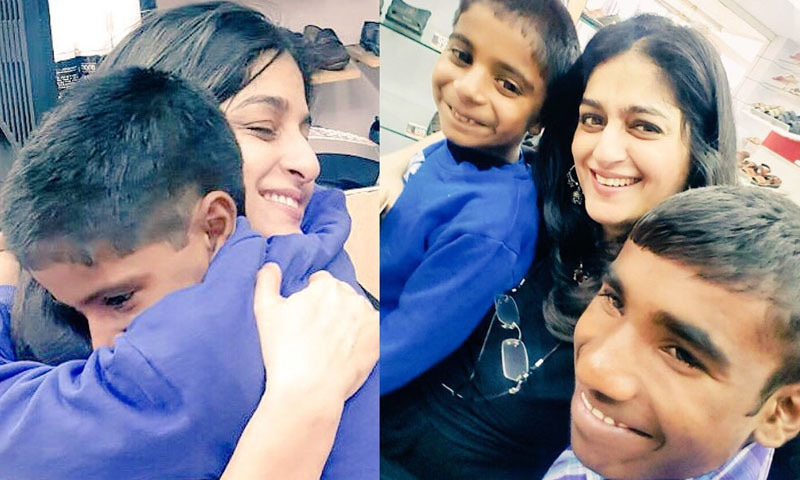 اداکارہ نے دونوں بچوں کو گود لینے کی خبر سوشل میڈیا پر شیئر کی تھی —فوٹو/ اسکرین شاٹ