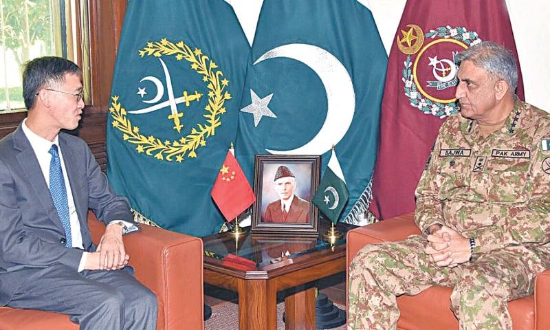 RAWALPINDI: Chinese Ambassador Yao Jing calls on Army Chief Gen Qamar Javed Bajwa at GHQ on Monday. — INP