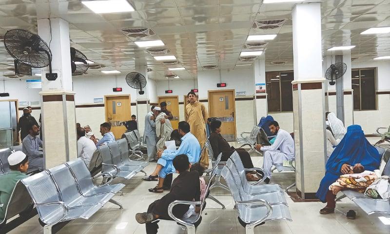 PESHAWAR: Patients wait for their turn at the out-patient department of Hayatabad Medical Complex on Monday amid strike by doctors. The representatives of striking doctors are scheduled to hold negotiations with the KP chief minister on Tuesday (today).—Abdul Majeed Goraya / White Star