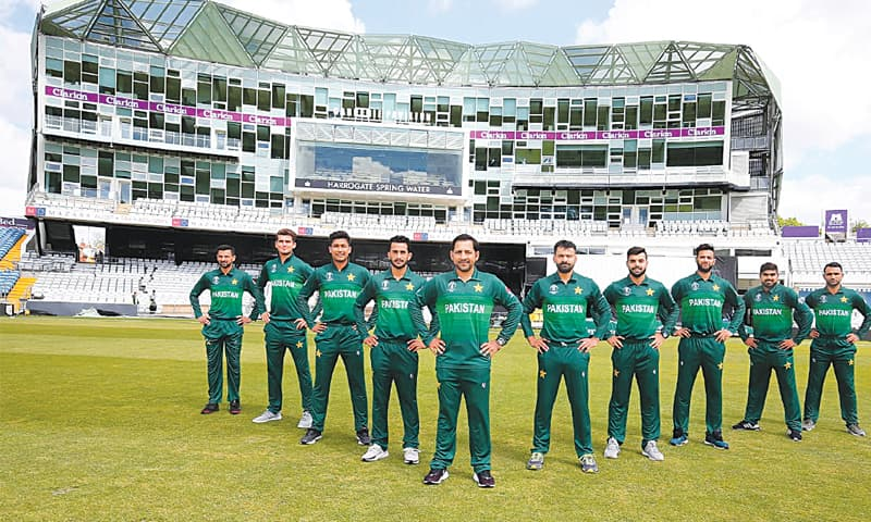 LEEDS: Pakistan players pose for a group photo after donning their newly-unveiled World Cup jersey at Headingly on Tuesday.—Courtesy PCB