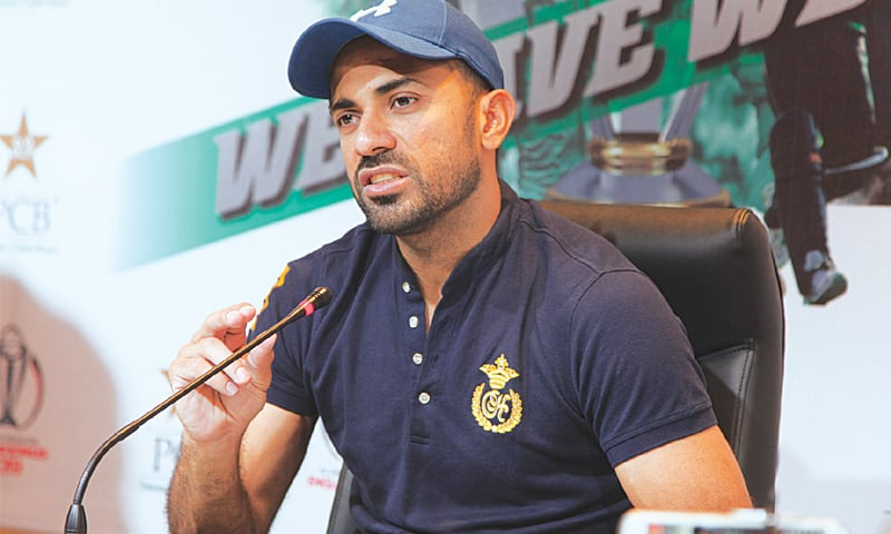 LAHORE: Fast bowler Wahab Riaz addresses the news conference on Tuesday.—M.Arif/White Star