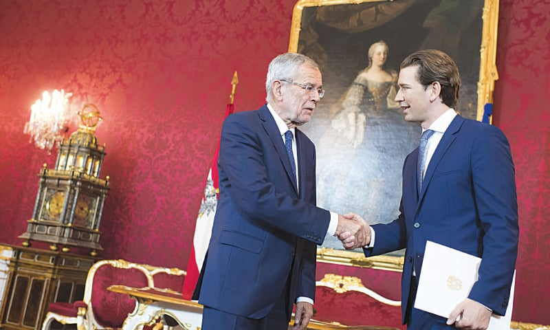 Vienna: Austrian President Alexander Van der Bellen (left) shakes hands with Chancellor Sebastian Kurz before their meeting at Hofburg palace on Tuesday.—AP