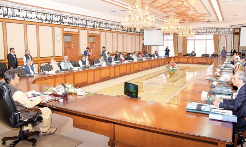 ISLAMABAD: Prime Minister Imran Khan chairs a cabinet meeting at PM Office on Tuesday. — PPI