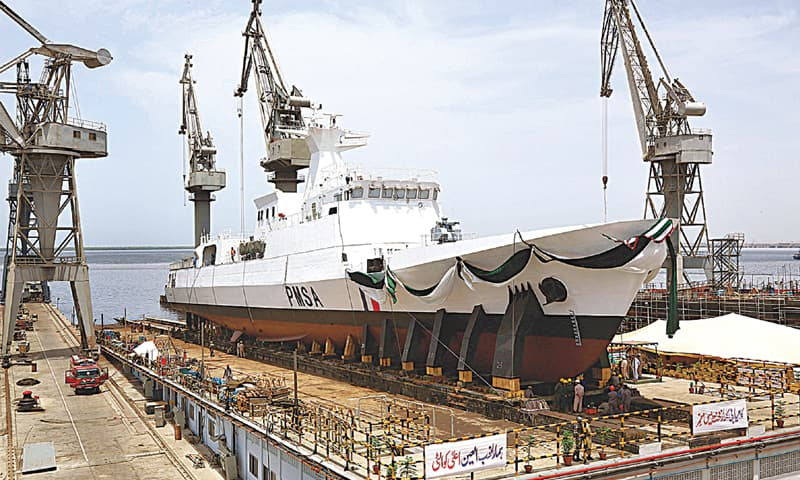 KARACHI: The 1,500-tonne Maritime Patrol Vessel pictured during the launch ceremony at Karachi Shipyard on Wednesday. — APP