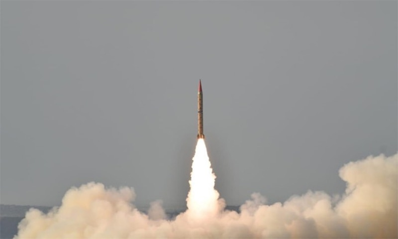 The Shaheen-II surface-to-surface ballistic missile is capable of carrying conventional and nuclear warheads up to range of 1,500km. ─ Photo courtesy ISPR