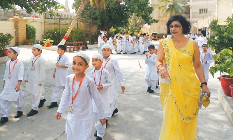 The students and teachers of BVS Parsi High School happily celebrate the school's 160th birthday on Thursday.—Photo by writer