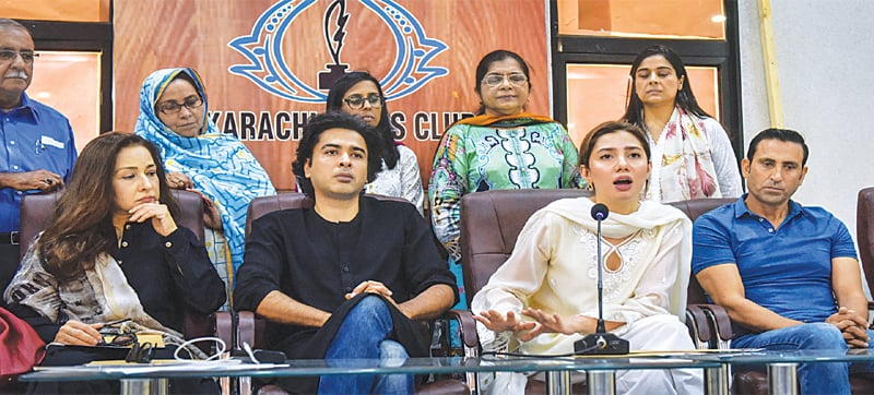 Actress Mahira Khan speaks during a press conference at the Karachi Press Club on Thursday. Former cricketer Younis Khan, singer Shehzad Roy and actress Zeba Bakhtiar are also present.—Fahim Siddiqi / White Star