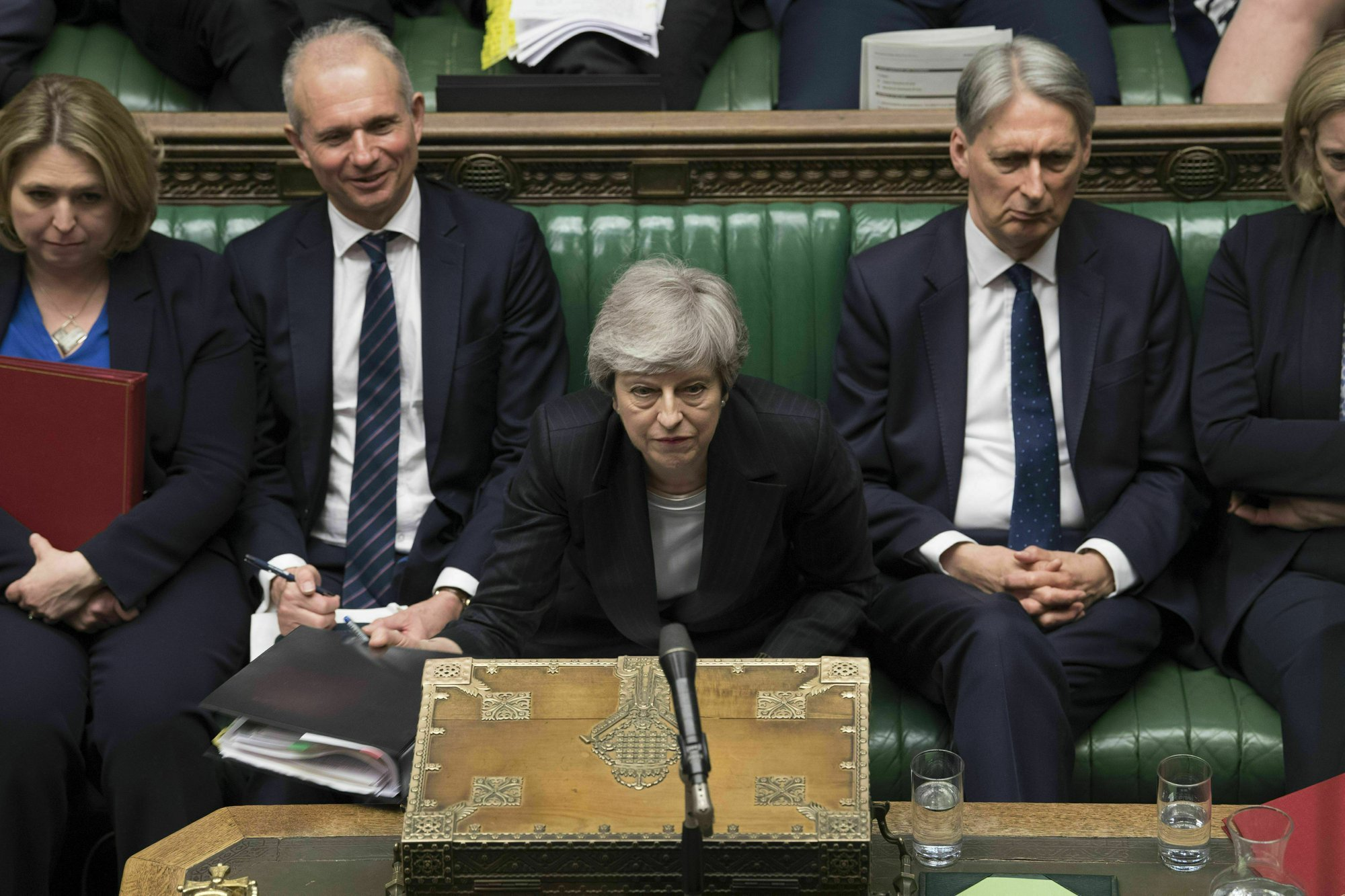 Theresa May speaks during Prime Minister's Questions in the House of Commons, London, on May 22. —AP