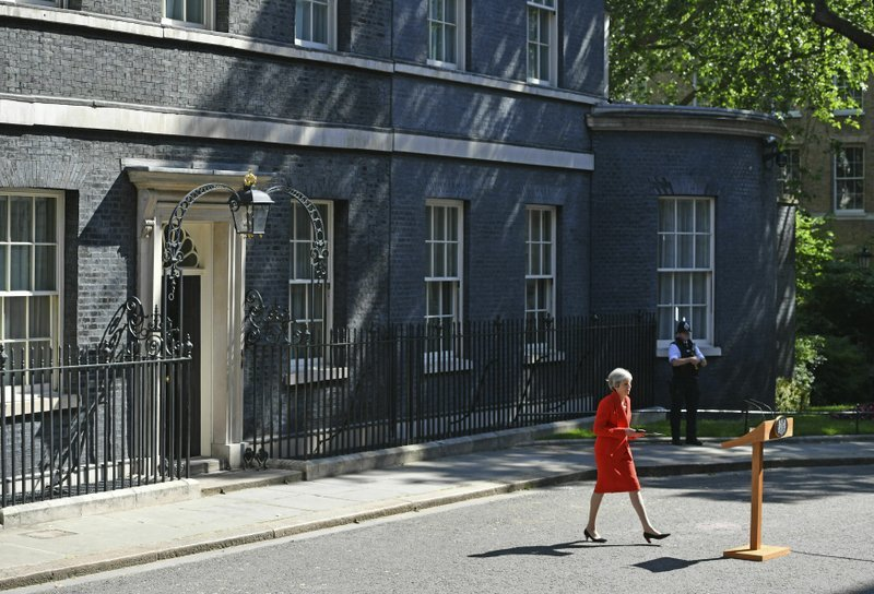 Theresa May arrives to make a statement about her stepping down as Conservative leader, outside 10 Downing Street in London, on May 24. — AP