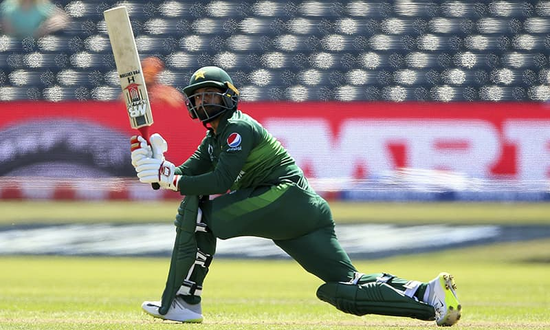 Pakistan's Babar Azam bats during the Cricket World Cup Warm up match against Afghanistan at The Bristol County Ground in Bristol, England on Friday May 24. — AP