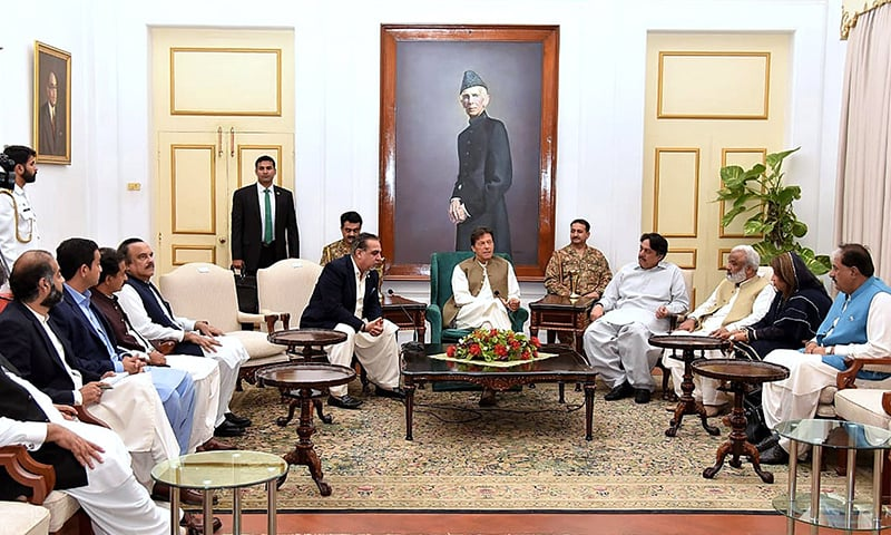 Prime Minister Imran Khan in a meeting with PTI allied parliamentarians in Sindh on Friday. — APP