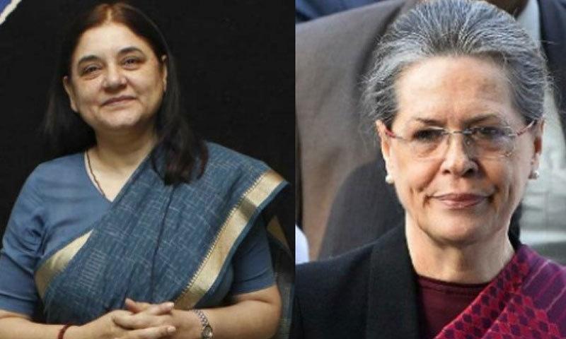 سونیا اور مانیکا گاندھی سابق وزیر اعظم اندرا گاندھی کی بہوؤں ہیں، تاہم یہ دونوں سیاسی حریف ہیں—فائل فوٹو: ڈی این اے انڈیا
