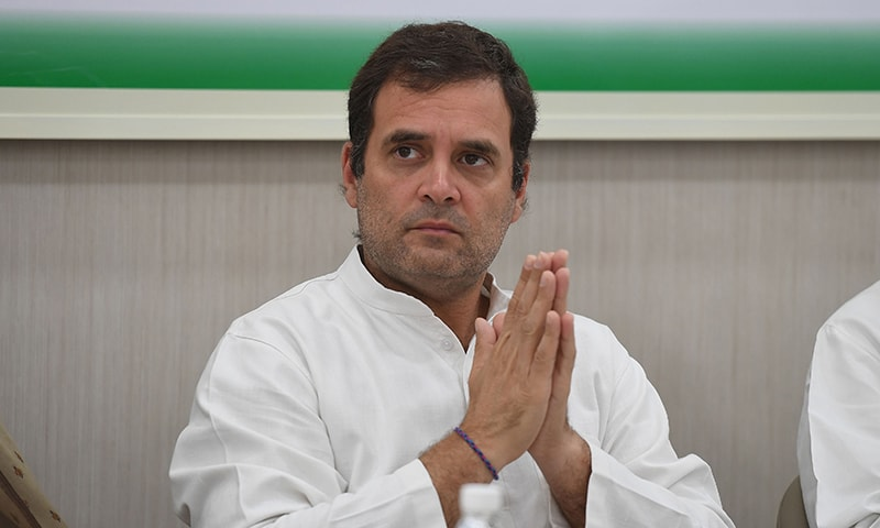 Indian National Congress Party President Rahul Gandhi gestures during a Congress Working Committee (CWC) meeting. — AFP