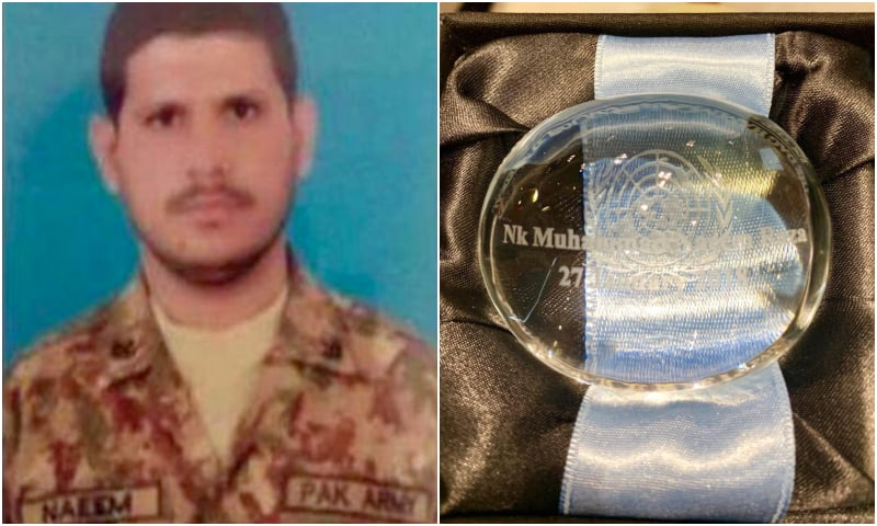 Pakistani peacekeeper, Naik Naeem Raza, was posthumously awarded the Dag Hammarskjöld Medal by the UN in recognition of his services. — ISPR
