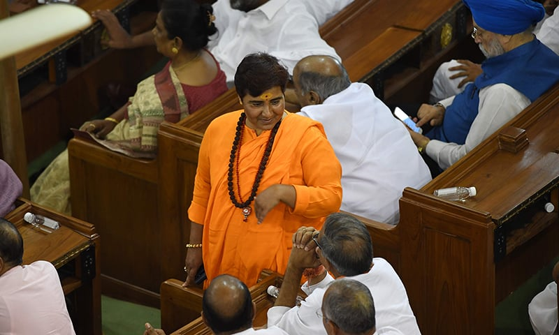 Indian Bharatiya Janata Party (BJP) and newly elected member of parliament for Bhopal constituency Pragya Singh Thakur, known as Sadhvi Pragya, attends a National Democratic Alliance (NDA) meeting at the central hall of the parliament, in New Delhi on May 25, 2019. — AFP
