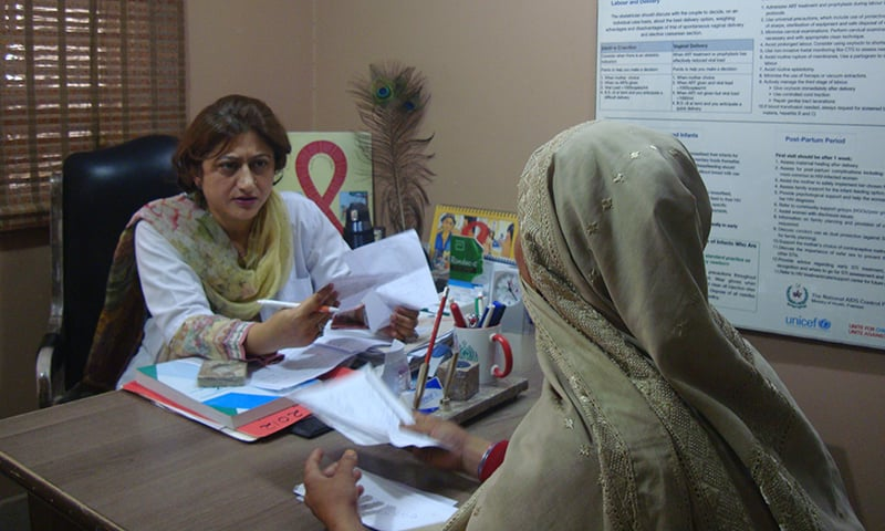 Dr Anila Isran counsels an HIV-positive woman at the PPTCT, HIV Treatment Centre, Sheikh Zayed Women Hospital in Larkana.