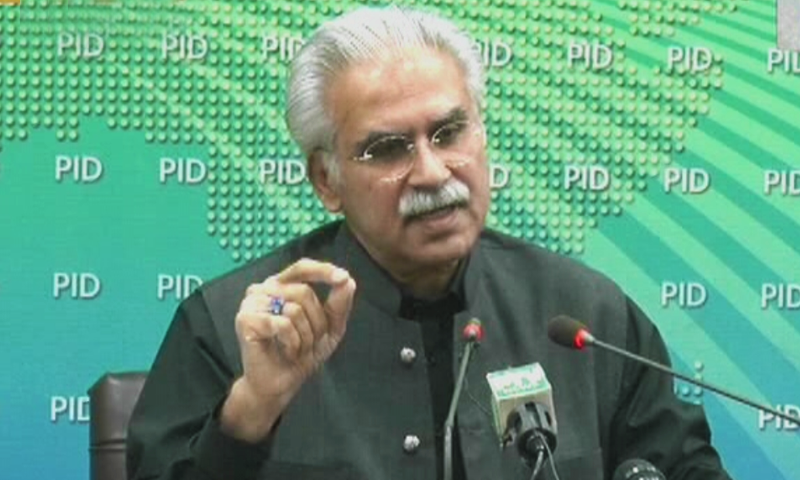 Special Assistant to the Prime Minister on National Health Services Dr Zafar Mirza addresses a press conference on Sunday. — DawnNewsTV