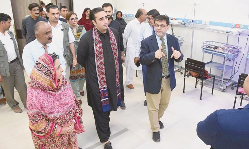PPP chairman Bilawal Bhutto-Zardari along with CM Murad Ali Shah and other party leaders visits the children hospital within the CMCH complex in Larkana on Sunday.—APP