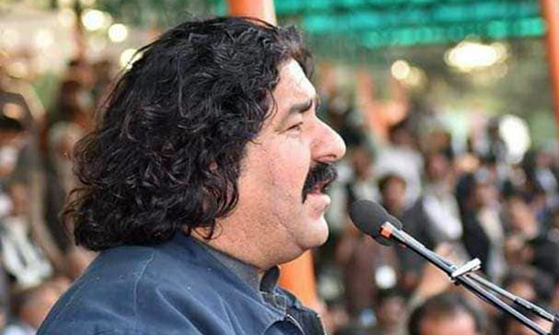 Pashtun Tahaffuz Movement (PTM) leader and lawmaker Ali Wazir while addressing a public gathering. — Photo courtesy Ali Wazir Twitter