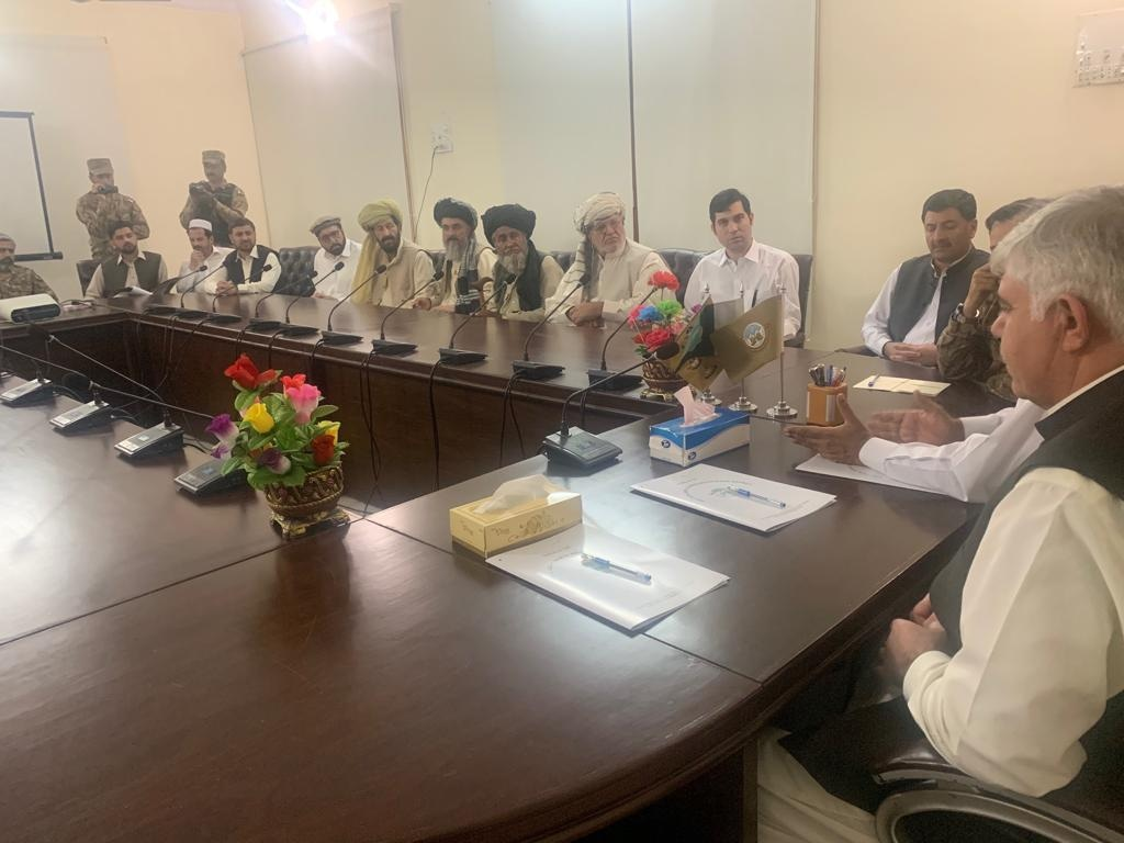 KP CM and governor meet tribal elders and military and civil officials on Monday. ─ DawnNewsTV
