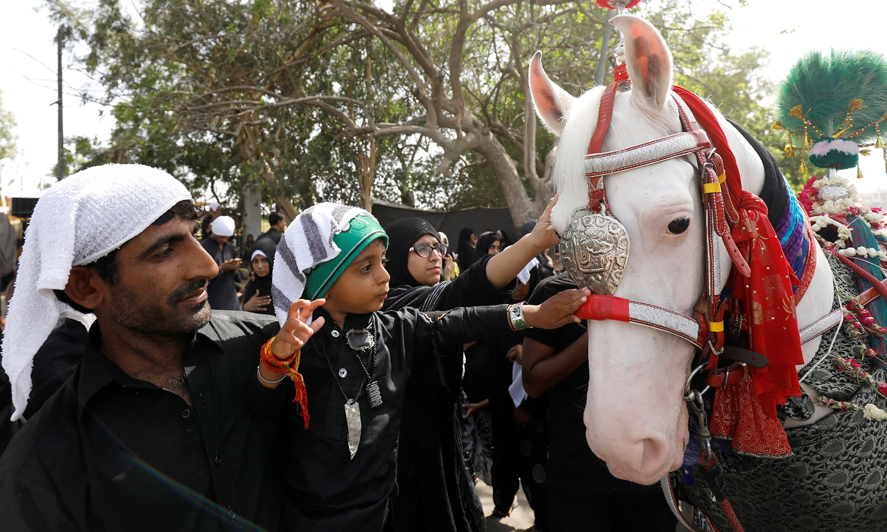 Shia Muslims reach out to touch the ornamentation placed on a symbolic sacred horse for good luck, during a religious procession of Youm-i-Ali in Karachi on Monday. — Reuters
