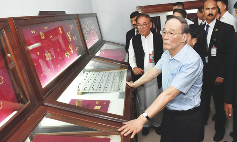 TAXILA: Chinese Vice President Wang Qishan visits an archaeological museum on Monday.— APP