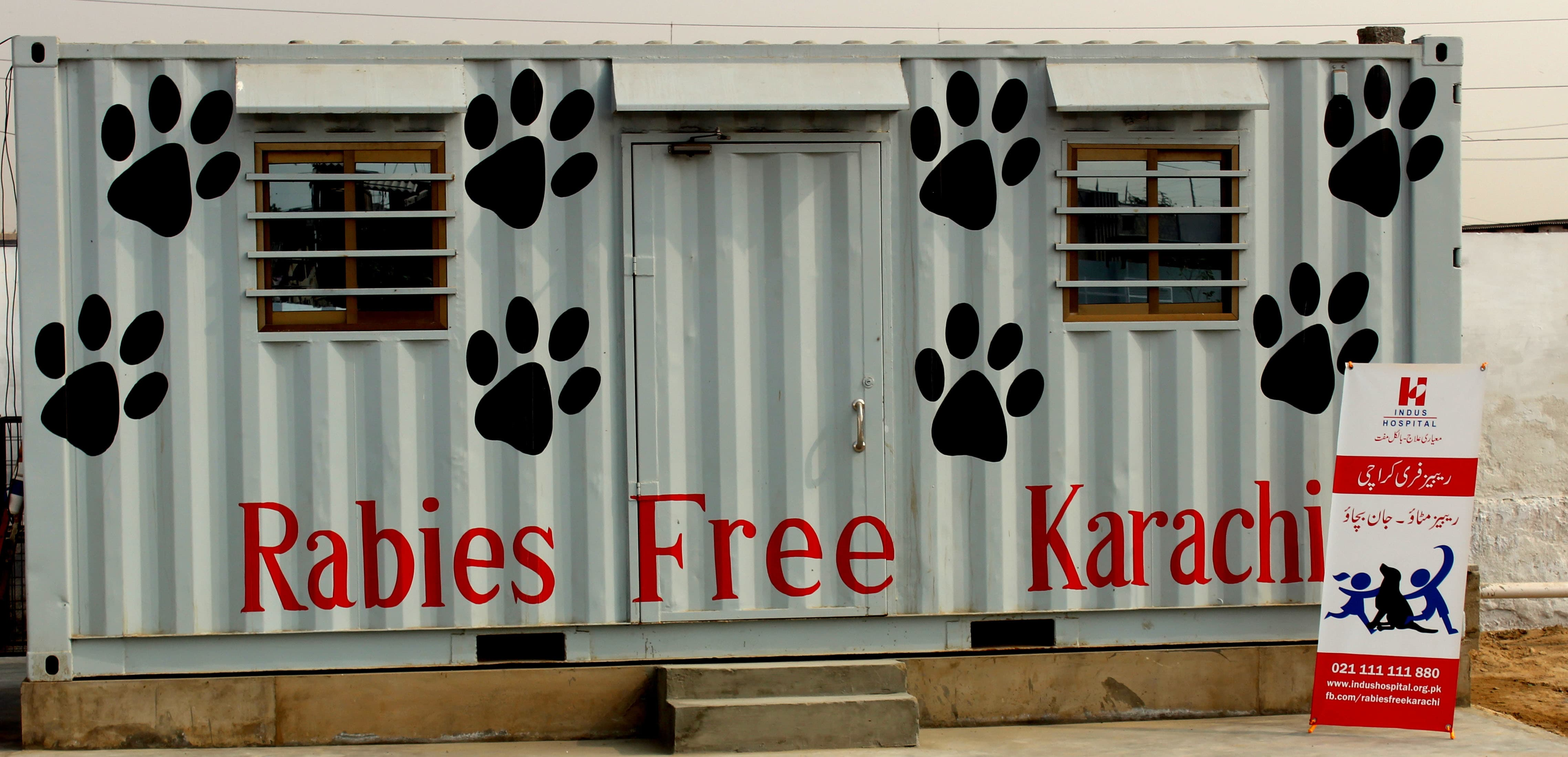 RFK surgical container for spaying and neutering stray dogs in Korangi Industrial Area.—*Courtesy TIH*