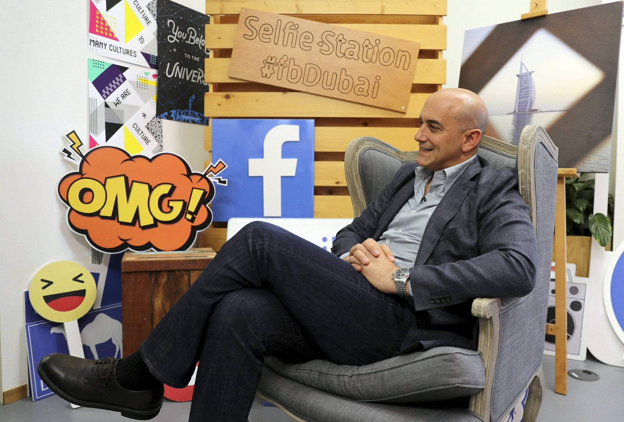 In this May 20 photo, Facebook's Managing Director for the Middle East and North Africa, Ramez Shehadi, speaks to The Associated Press at the Facebook office in Dubai, UAE. ─ AP