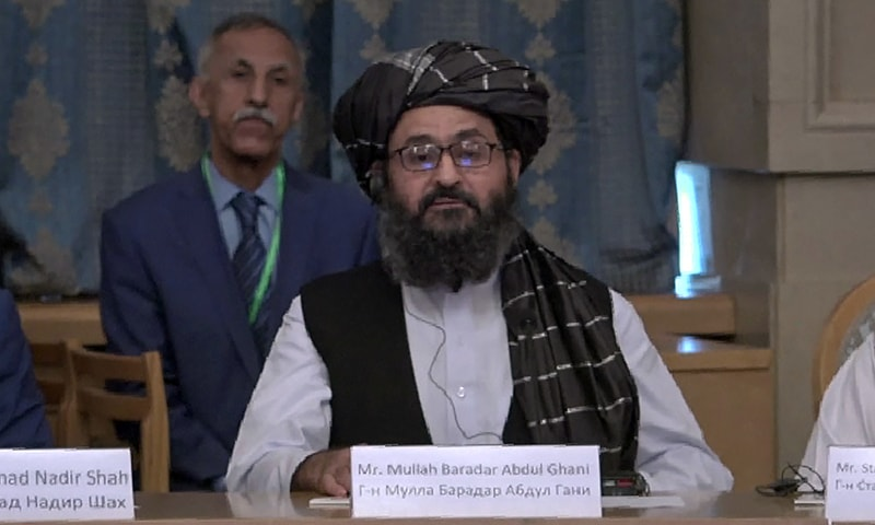 This AFPTV screen grab from a video made on May 28, 2019 in Moscow shows Taliban Mullah Abdul Ghani Baradar during a conference marking a century of diplomatic relations between Afghanistan and Russia, followed by discussions with Afghan politicians about the future of the country. — AFP