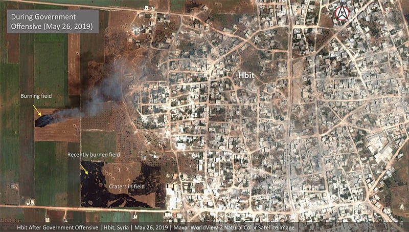 This satellite image provided by Maxar Technologies on Tuesday shows significant damage to Habeet, a village on the edge of Idlib province, after a government offensive against the last rebel stronghold in Syria. —AP
