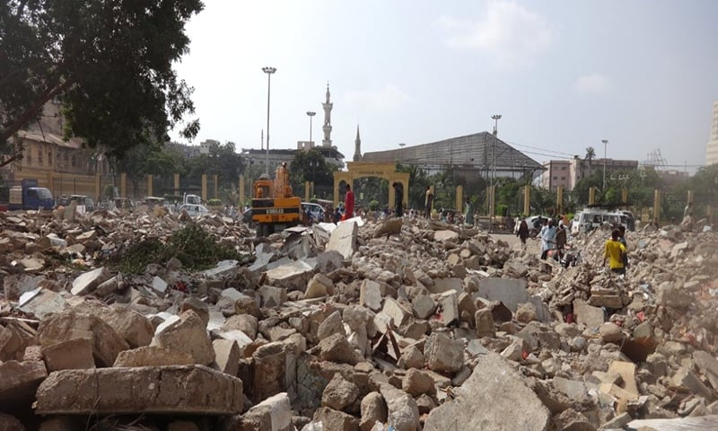 Aftermath of a demolition operation in Saddar, Karachi. — KUL