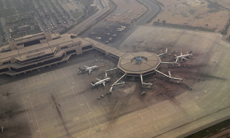 An aerial view of the airplane hub at Karachi's Jinnah International Airport. ─ Reuters