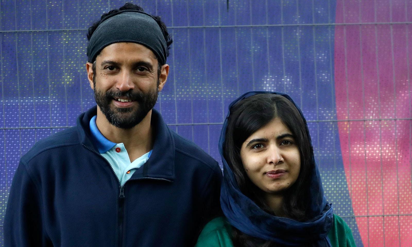 ملالہ یوسفزئی نے پاکستان اور اداکار فرحان اخترنے بھارت کی نمائندگی کی — فوٹو: اے پی