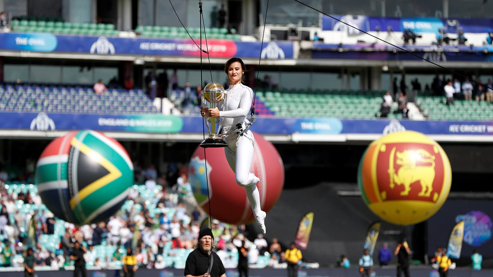 General view of the trophy being carried by a performer during the opening ceremony before the match at The Oval, London on May 30. — Reuters