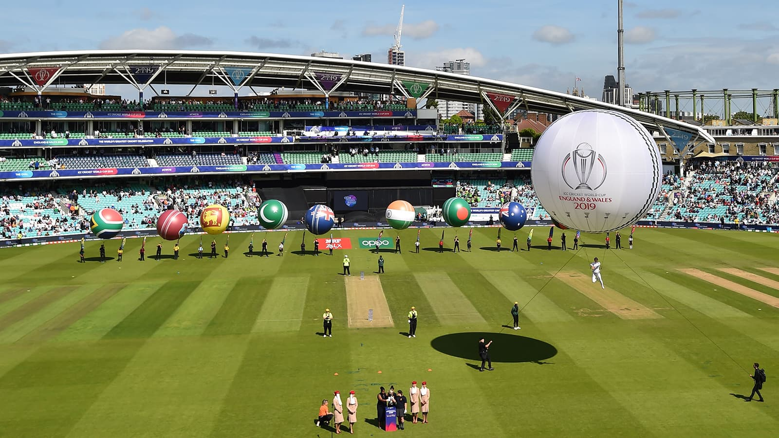 Balloons featuring the colours of the competing nations are displayed before the start of the 2019 Cricket World Cup group stage match between England and South Africa at The Oval, London on May 30. — AFP